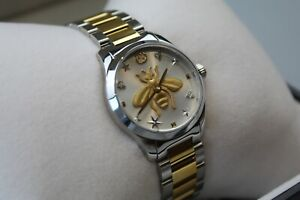 Gucci YA126599 G-Timeless Silver Dial Gold/Silver Strap Ladies Watch