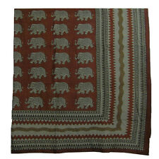Elephant Block Print Indian Powerloom Cotton Bohemian Tapestry Coverlet Throw