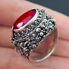 LARGE ETHNIC RUBY 925 Sterling Silver Ring Jewellery, Size S-UK 9.5-US, UNISEX