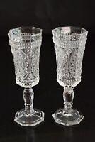 2 vintage , clear, glass , Champagne flutes , 8 sided foot, ornate design