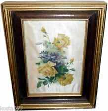 VINTAGE TEXTIL ART, SILK SCREEN, Lovely Painting on Silk, Yellow Roses, 23x18cm