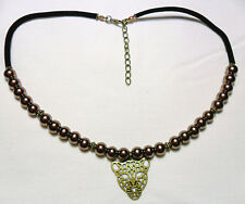 "Choker necklace, brown glass pearls + leopard head 17""-19"""