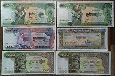 CAMBODIA, LOT OF 6 BANKNOTES, AU-UNC