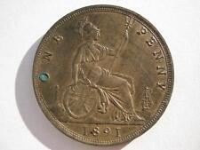 1891 Queen Victoria Penny, UNC. Reverse carbon spot.