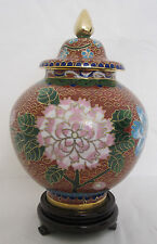 "6 1/2"" Chinese Beijing Cloisonne Cremation Urn Hong Kong Style Red - New"