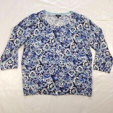 Talbots Blue Floral Cardigan Sweater Women's sz Xp Petite NWT