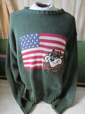 Vtg 1995 Warner Bros Studio Store Taz Large Usa Flag Green Sweater