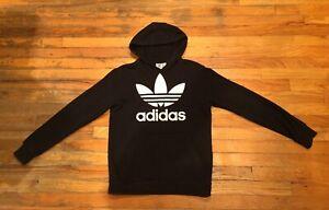 Adidas Originals Black Hoodie Sweatshirt White Trefoil Logo Youth Size Large