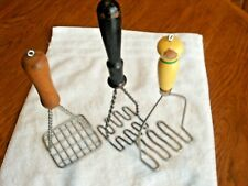 3 Vintage Primitive Potato Vegetable Mashers Wooden Handles Twisted Metal Rare!