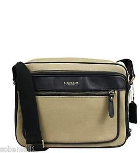 Coach Essex Twill Flight Case Crossbody Shoulder Bag in Barley/Black F71415