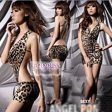 Fashion Women Ladies Sexy Lingerie Leopard PrintPole Dance Party Stage Dress
