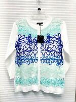 LEO & UGO Womens 3/4 Sleeve Eyelet Lace Inlay Sweater Size 3 - NWT