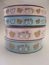 Baby Shower Satin Ribbon Baby Boy or Baby Girl sold by 1 metre