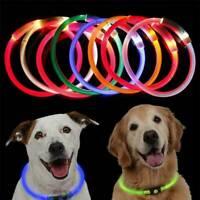 Pet Dog Adjustable Rechargeable USB LED Flashing Light Waterproof Luminous Band~