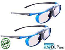 2x Hi-shock ® Blue Heaven | DLP link 3d gafas para Acer, optoma Beamer lg largo