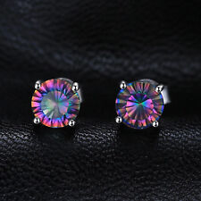 6mm  Genuine Round Mystic Rainbow Topaz and Sterling Silver Stud Earrings 2ct