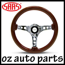 SAAS LOGANO SPORTS STEERING WHEEL 350mm Woodgrain Wood with Chrome Drilled Spoke
