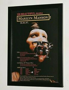 MARILYN MANSON Framed A4 `beautiful people` SINGLE original band promo poster