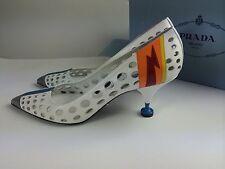 PRADA S/S16 Runway Must Have Perforated White Leather Lightning Pump Kitten Heel