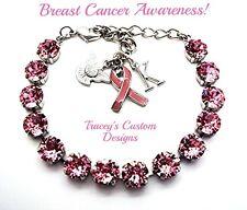 NEW! Beautiful BREAST CANCER Awareness 8mm Swarovski Elements Bracelet - PRETTY!
