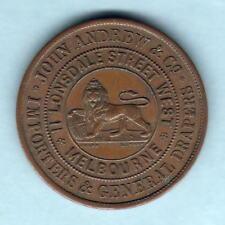 Australia Token.  Andrew - 1860 1d. Melbourne Vic.. Lion..  aEF