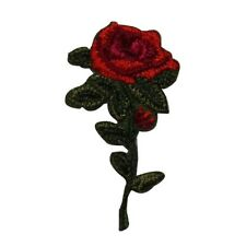ID 6683 Small Red Rose Clipping Plant Flower Iron On Embroidered Patch Applique
