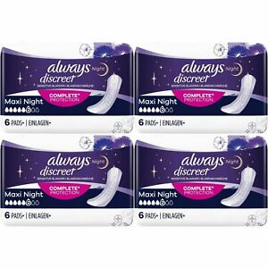 Always Discreet Sensitive Bladder Incontinence Pads Maxi Night Scented - 24 Pack