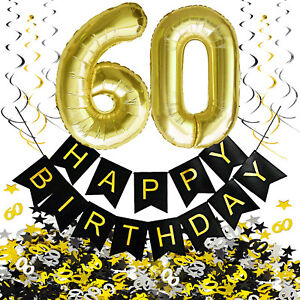 60. Geburtstag Deko Set - Folien Luftballons 60 Deckenhänger Girlande Konfetti