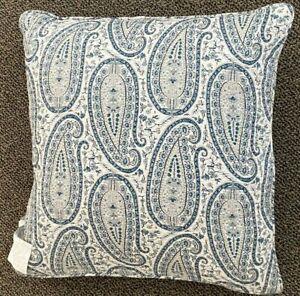 "NWT Lauren Ralph Lauren Decor Pillow 20"" Blue White Paisley"
