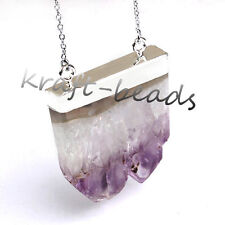 Silver Plated Natural Druzy Amethyst Quartz Crystal Reiki Stone Pendant Necklace