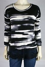 KENSIE NEW Black Long Sleeve Striped Lace Viscose Casual Knit Top M MEDIUM 8 10