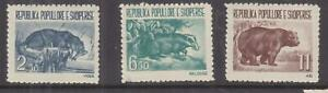 ALBANIA, 1961 Albanian Fauna set of 3, lhm.