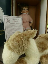 "Vintage GEPPEDDO COLLECTOR SERIES ""CORY"" PORCELAIN DOLL & PLUSH DOG, BOX COA 14"""