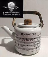 Antique 1924 WARNER BROS Tea For Two Porcelain Enamel Blk/wht Metal Teapot