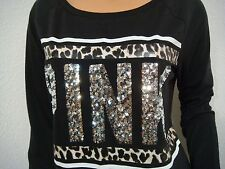 VICTORIA'S SECRET PINK BLACK RAGLAN SEQUINS BLING LEOPARD FOOTBALL T-SHIRT TOP S