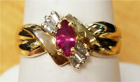10K Yellow Gold Genuine Marquise Ruby and Baguette Diamond Ring