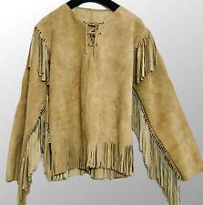 Men/'s Native American Buckskin COW Suede Leather Fringe War Shirt Pants S03