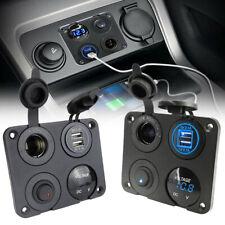 12V Dual USB Car Cigarette Lighter Socket Charger Adapter Voltmeter Switch Panel