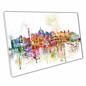 Print on Canvas Colourful Skyline landmarks ROME Italy framed print 30x20 Inch