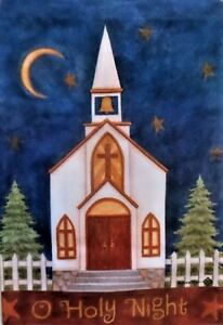 """Oh Holy Night Curch Garden Flag by Toland, 12.5"""" x 18"""",  #6119, Christmas"""