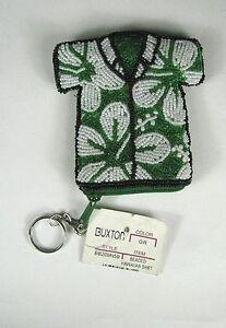 NWOT BUXTON Coin Purse Wallet Hawaiian Shirt Key Ring Beaded Green Women