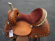 15 16 BARREL RACING SHOW PLEASURE SILVER ROUGH OUT LEATHER WESTERN HORSE SADDLE