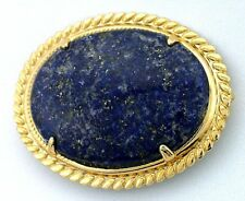 LARGE 40x30 REAL Lapis Gemstone Gem Cab Cabochon Gold Plated Pin Brooch EBS5824