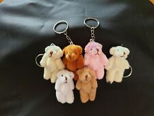 Plush Teddy Bear with Keyring Clip Bag Charm with Moveable Arms/Legs height 8cm