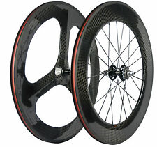 700C Fixed Gear Track Wheels 70mm Tri Spoke Front Wheel 88mm Rear Carbon Wheels