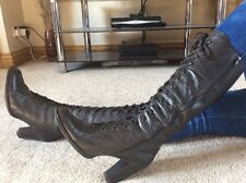 Victorian Steampunk Black Knee High Boots Size 6 Euro 39