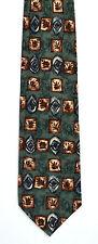 Men's New Silk Neck Tie, Short, Wide, Green brown leaf design by Robert Stock