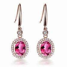 SOLID 14Kt ROSE GOLD NATURAL PINK TOURMALINE VS DIAMOND ENGAGEMENT EARRINGS