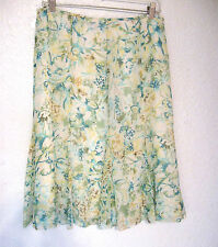Pendleton Skirt Size 6 NWT Teal Green Yellow Floral Print Silk Fully Lined #709