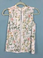 Miss Selfridge White Floral High Neck Sleeveless Lace Panel Top Sz 6 - B44